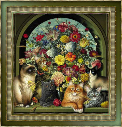 GraphicsByLiz_CatsInTheFlowers_July2008