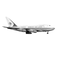 GraphicsByLiz_Korean_Air_Boeing_747SP_at_Basle_-_January_1985_June2008
